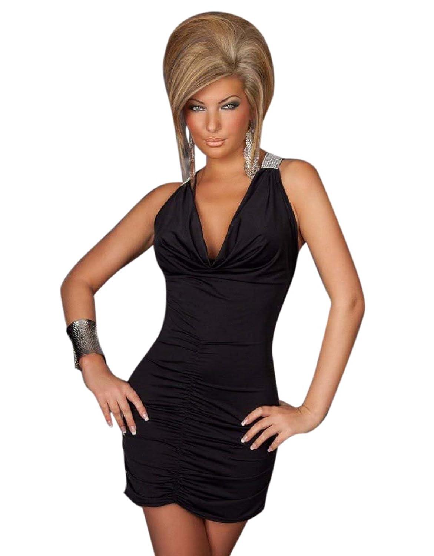 Blansi Damen Sexy V-Ausschnitt Neckholder Damen Kleid Minikleid ...
