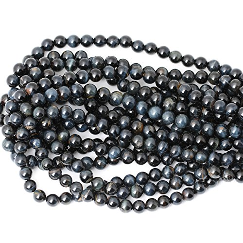 """CHEAVIAN 45PCS 8mm Natural Blue Tiger Eye Gemstone Round Loose Beads for Jewelry Making DIY Findings 1 Strand 15"""""""