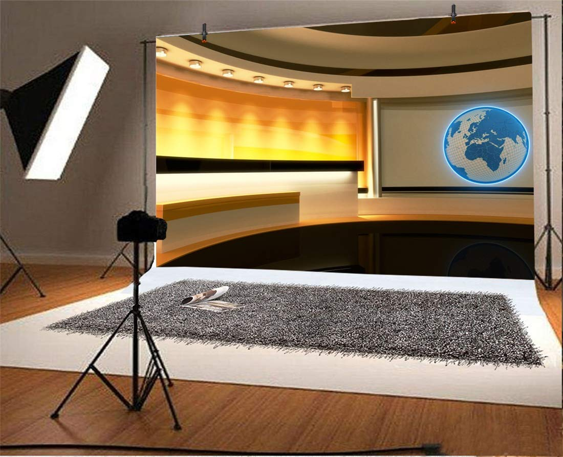 Yeele 10x8ft Blue TV Studio Interior Photography Backdrop Television Room Camcorder Screen Media Broadcast Background Global News Anchor Interview Newsman Journalism Photo Shoot Vinyl Studio Wallpaper