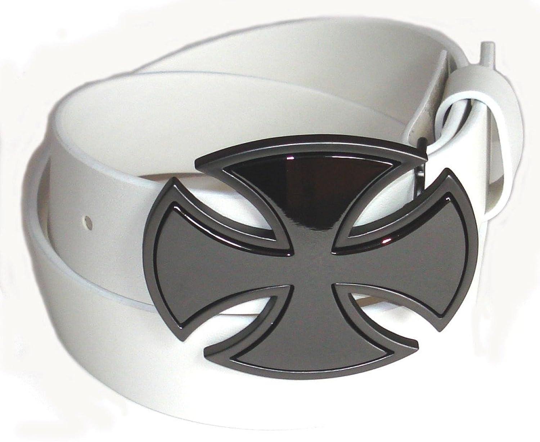 BeltsandStuds Man Women White snap on belt with Patent Cross buckle