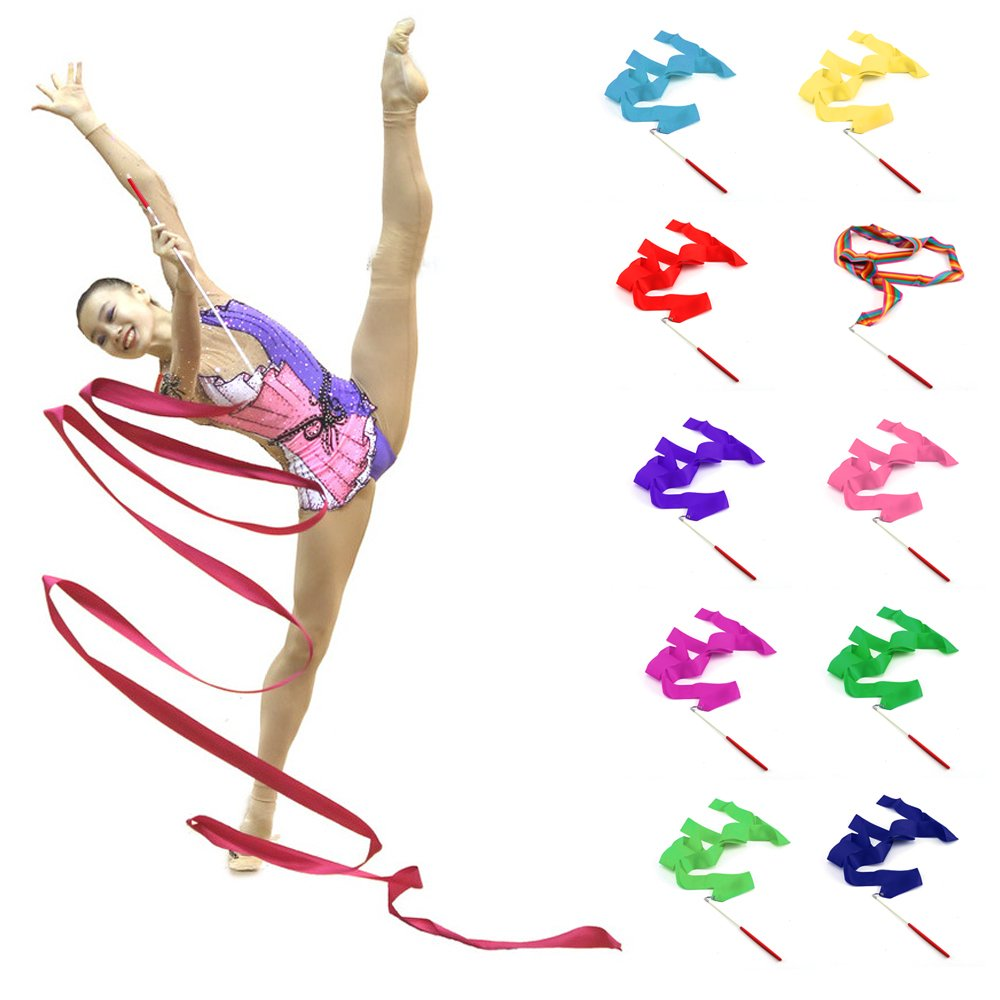 AllRight 10 x 2M Gymnastics Dance Ribbon Rhythmic Art Streamer Baton Twirling Rod 10-Colours oem