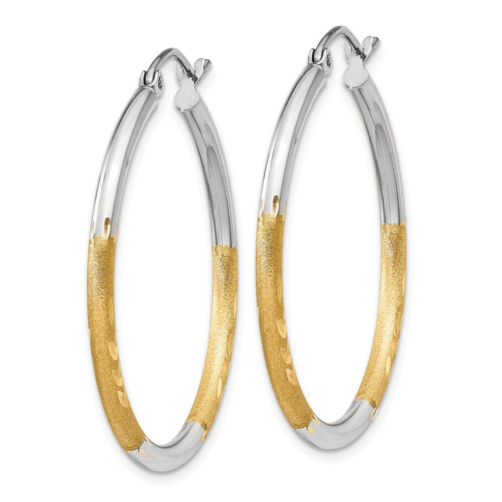 Mia Diamonds 14k Yellow Gold and Rhodium 2mm Satin and Diamond-cut Hoop Earrings