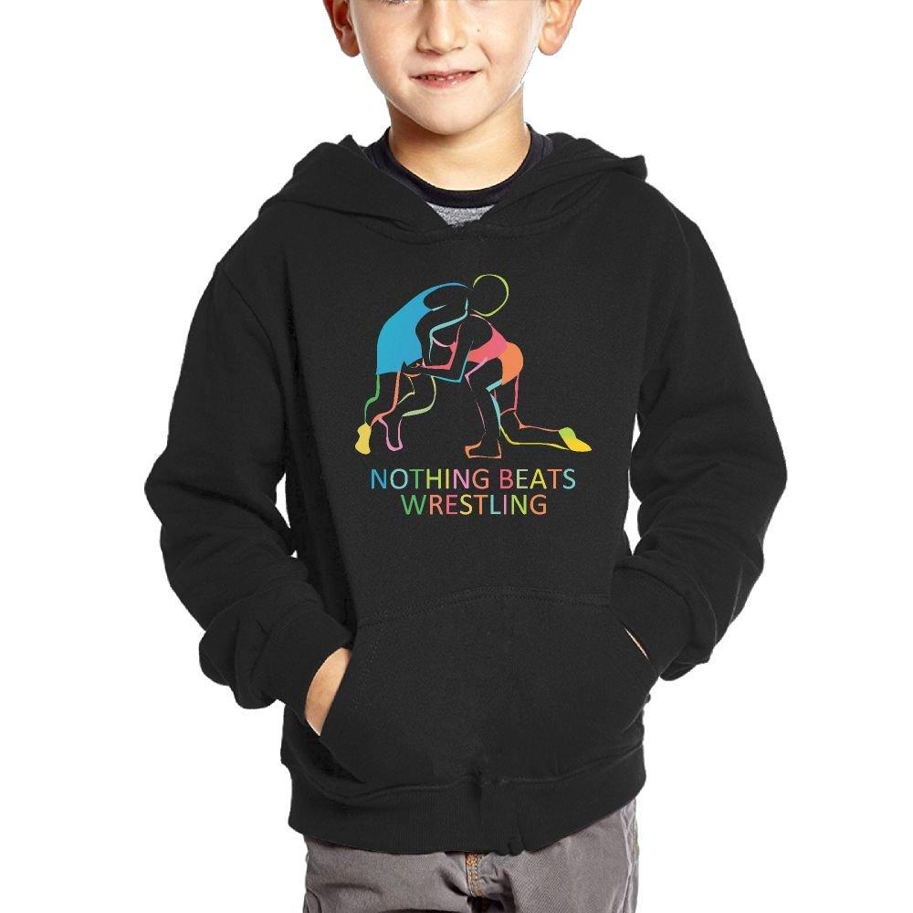 EHOODEDT Nothing Beats Wrestling Kids Casual Pocket Pullover Hooded