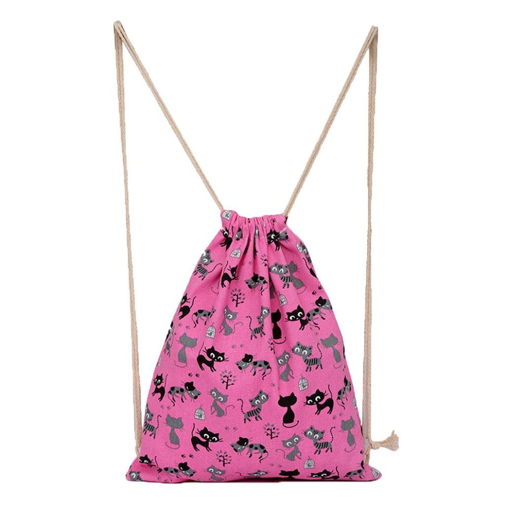 BCDshop Gym Sack Bag Drawstring Sport Beach Travel Outdoor Backpack Canvas Pouch Bag for Women