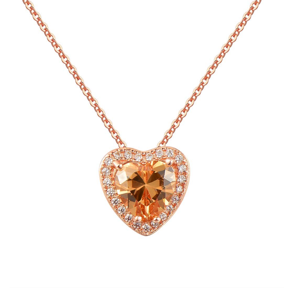 Mouttop Cubic Zirconia Pendant Necklace,Heart Pendant with Roes Gold Plated Necklace for Women