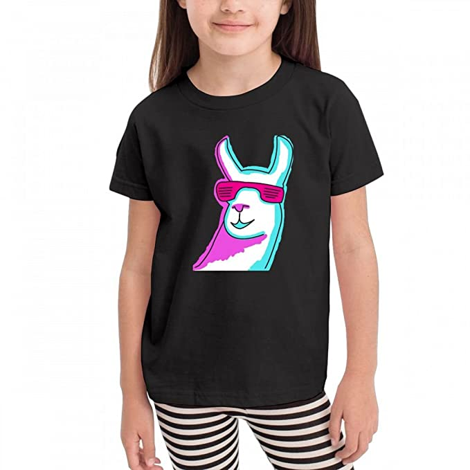 0410b604051e Amazon.com  Wodehous Adonis Funny Llama with Sunglass Kids Short Sleeve  100% Cotton Tops Crew Neck Tee Shirts  Clothing