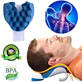 Cervical Pillow Neck and Shoulder Pain Relief Massage Traction Device Support Relaxer (Blue)