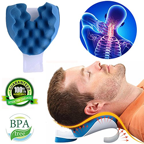 KASQA Cervical Pillow Neck and Shoulder Pain Relief Massage Traction Device Support Relaxer