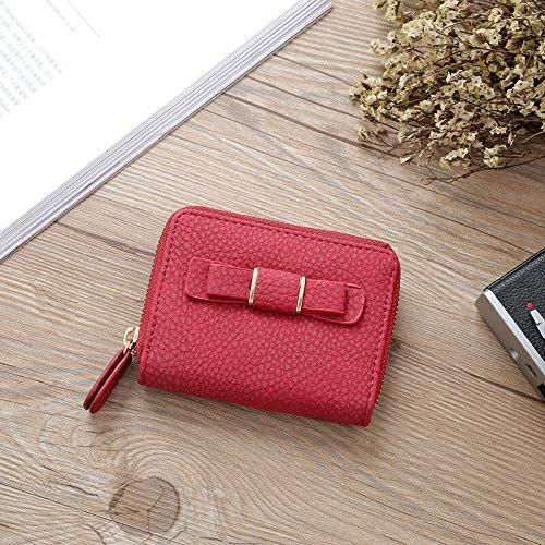 Womens Bowknot Wallets Handbags Leather Purses Clutch Chain Fashion Money Clip (Color - Red)