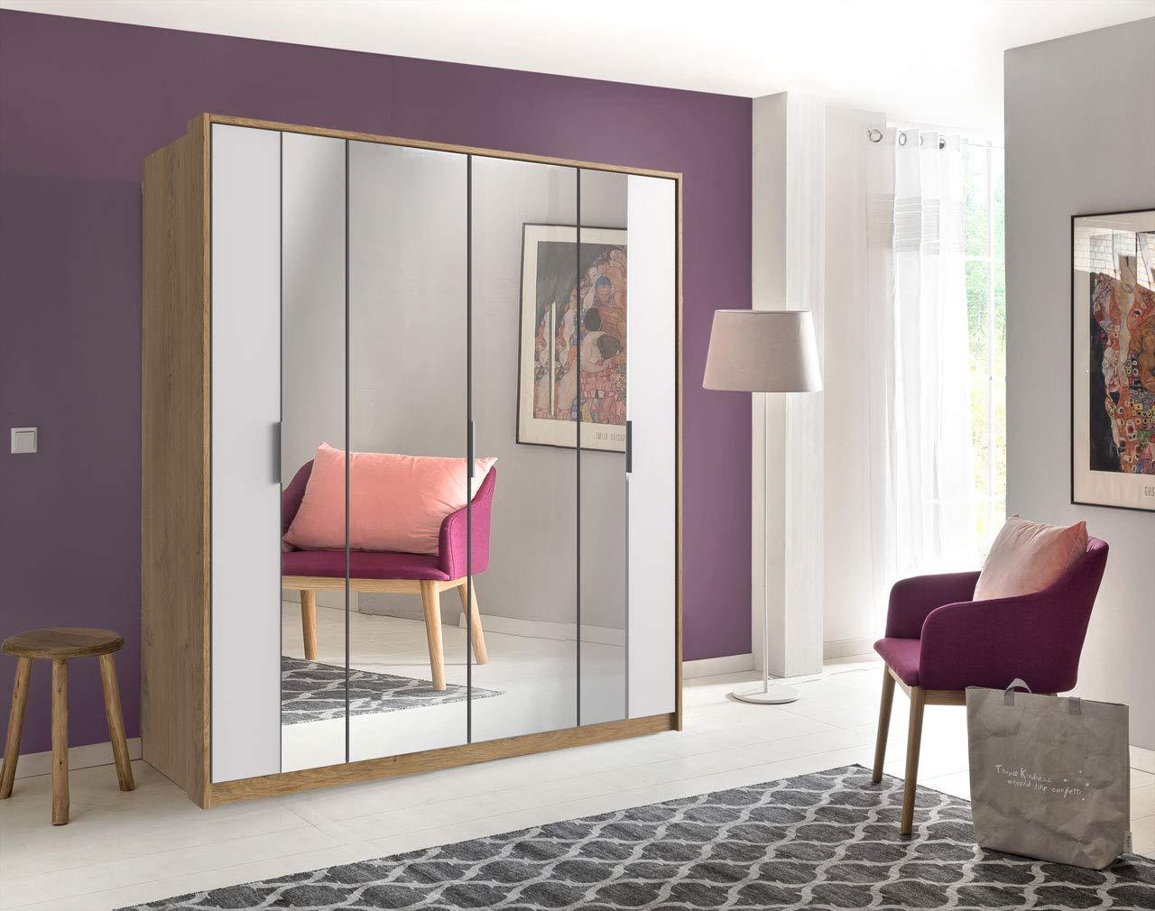 lifestyle4living Kleiderschrank in Plankeneiche-Nachbildung | Drehtürenschrank mit Absetzungen in weiß, 4-türig, Falttürenschrank mit Spiegeltür ca. 183 cm