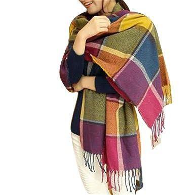 8e062a9456e2 WELKOO Echarpe Chale Femme, Grande Echarpe pour femme 60x190cm, Plaid à  carreaux. Echarpe pour femme Printemps Automne Hiver Multicolore   Amazon.fr  ...