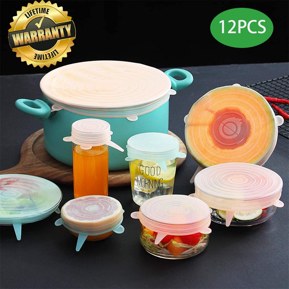 Silicone Stretch Food Lids set of 12 incl.-Reusable & Versatile Silicone Covers, Silicone Stretch Food Covers Fits Any Container or Bowl To Keep Food Fresh,Container cover Store & Reheat, Fresh cover
