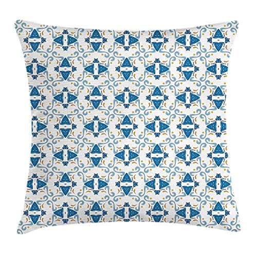 Queolszi Oriental Throw Pillow Cushion Cover, Traditional Portuguese Style Aqua Colored Azulejo Tile Pattern, Decorative Square Accent Pillow Case, 18 X 18 inches, Blue Grey Blue and Marigold