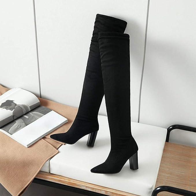 85147dbd82f07 Amazon.com: ODOKAY Women Boots Leopard Over The Knee Boots Slim ...