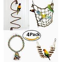 4 Piezas Juguetes para Pájaros para Masticar y Escalar Escalera Columpio Percas de Loros Pet Bird Parrot Bite Toy Swing Decoración Accesorios de Jaula para Pájaros Aves como Pericos Periquitos Agapornis Cacatúas
