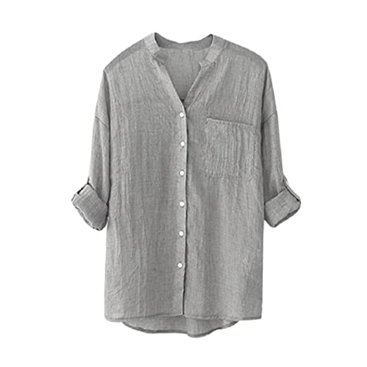 gonkoma women v neck blouse long sleeve ladies casual solid color