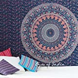 Eyes of India - Small Twin Blue Hippie Indian Mandala Tapestry Wall Hanging Picnic Bohemian Dorm Boho