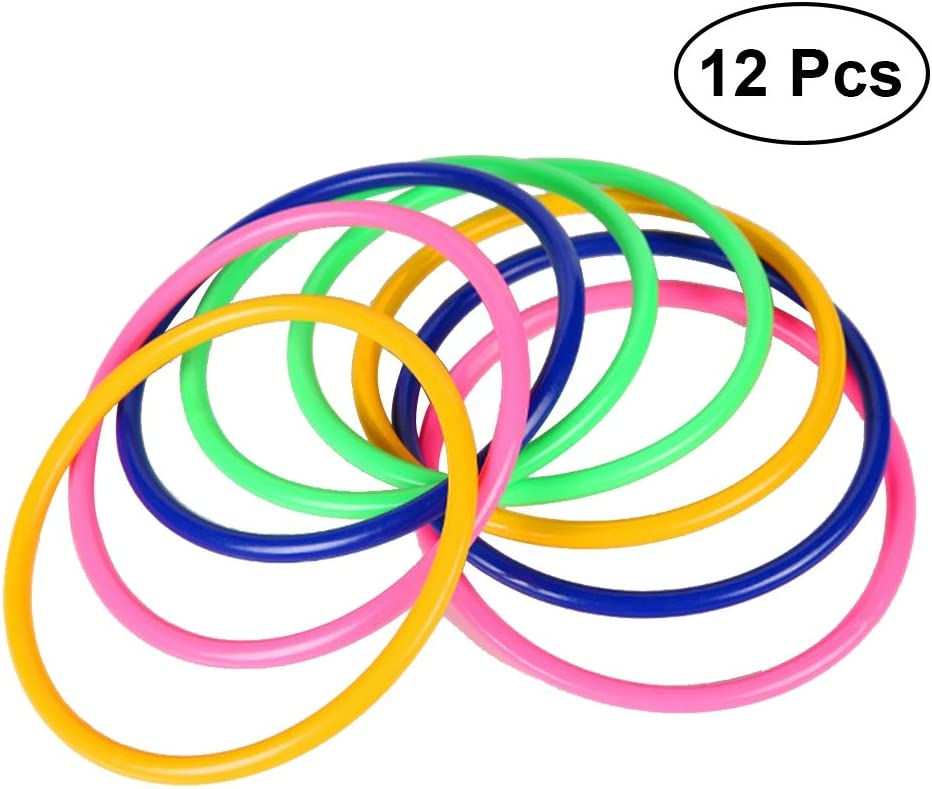 STOBOK 12pcs Kids Toss Rings Juego de Lanzamiento de Anillo de plástico para Juegos de jardín de Entrenamiento de Velocidad y Agilidad (Color al Azar)