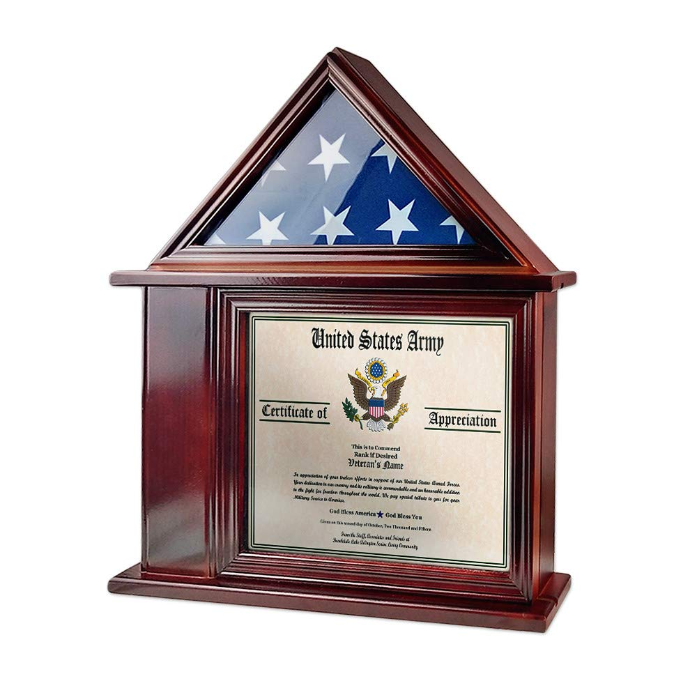 AtSKnSK Flag Display Case with Certificate and Document Holder Frame for 3' X 5' Flag by AtSKnSK