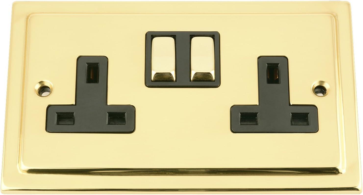 Victorien laiton poli 2 gang socket 13A simple double plug outlet blanc