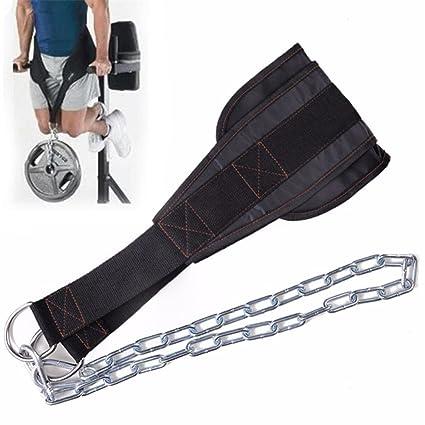 wonderfulwu DIP cinturón con cadena, deporte cintura cinturón ajustable gimnasio Musculation pesas levantamiento de pesas Dip de sentadillas ...