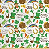 St. Patrick's Day Fabric by the Yard by Ambesonne, Irish Party Pattern Beer Leprechaun Flag Hearts Rainbow Gold and Shamrock, Decorative Fabric for Upholstery and Home Accents, Multicolor