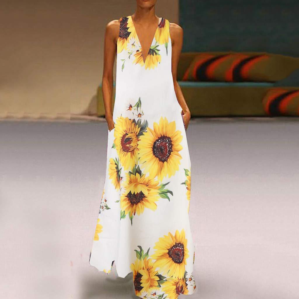 chuxin huang/_dress Womens Summer Dress Casual Loose Beach Cover Up Long Plain Print Cami Maxi Dresses with Pocket