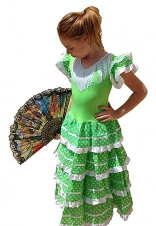 La Senorita Vestido Flamenco Español Traje de Flamenca chica/niños verde lima (Talla 6