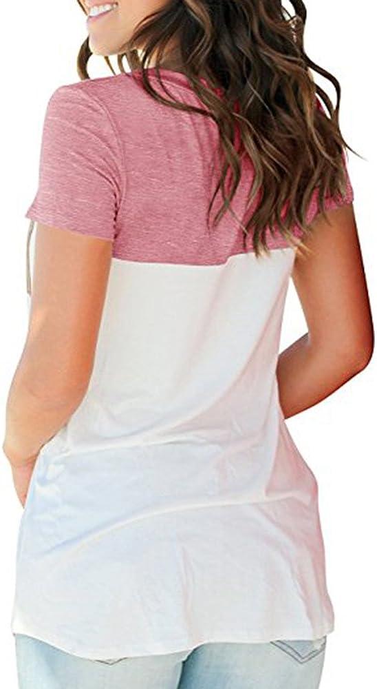 FarJing Womens Casual Short Sleeve Round Neck Top Triple Color Block Stripe T-Shirt Tunics Blouse