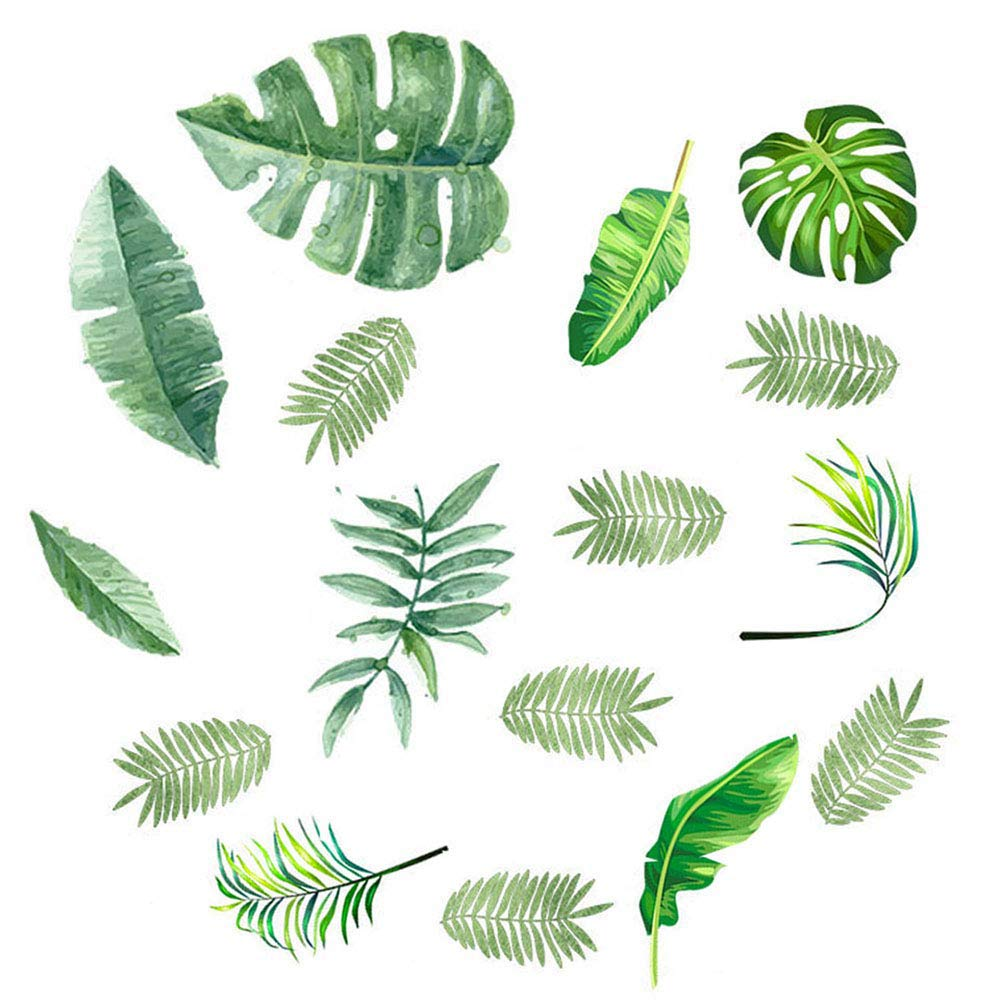 Finduat 96 Pcs Palm Leaf Wall Stickers Decals, Floor Decals, Classroom Home Party Decoration Removable Tropical Plants Tree Leaves Stickers for Kids Nursery Room Decor