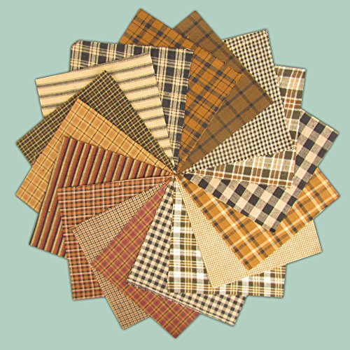 40 Piece Brown Black Charm Pack, 6 Inch Precut Cotton Homespun Fabric Squares By Jubilee Creative Studio
