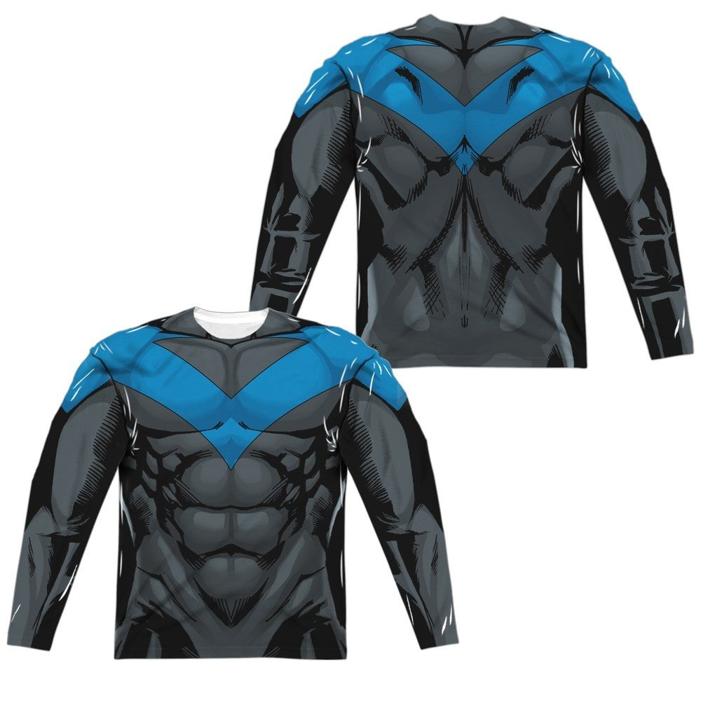 Batman Nightwing Blue Uniform Adult Long Sleeve T-Shirt