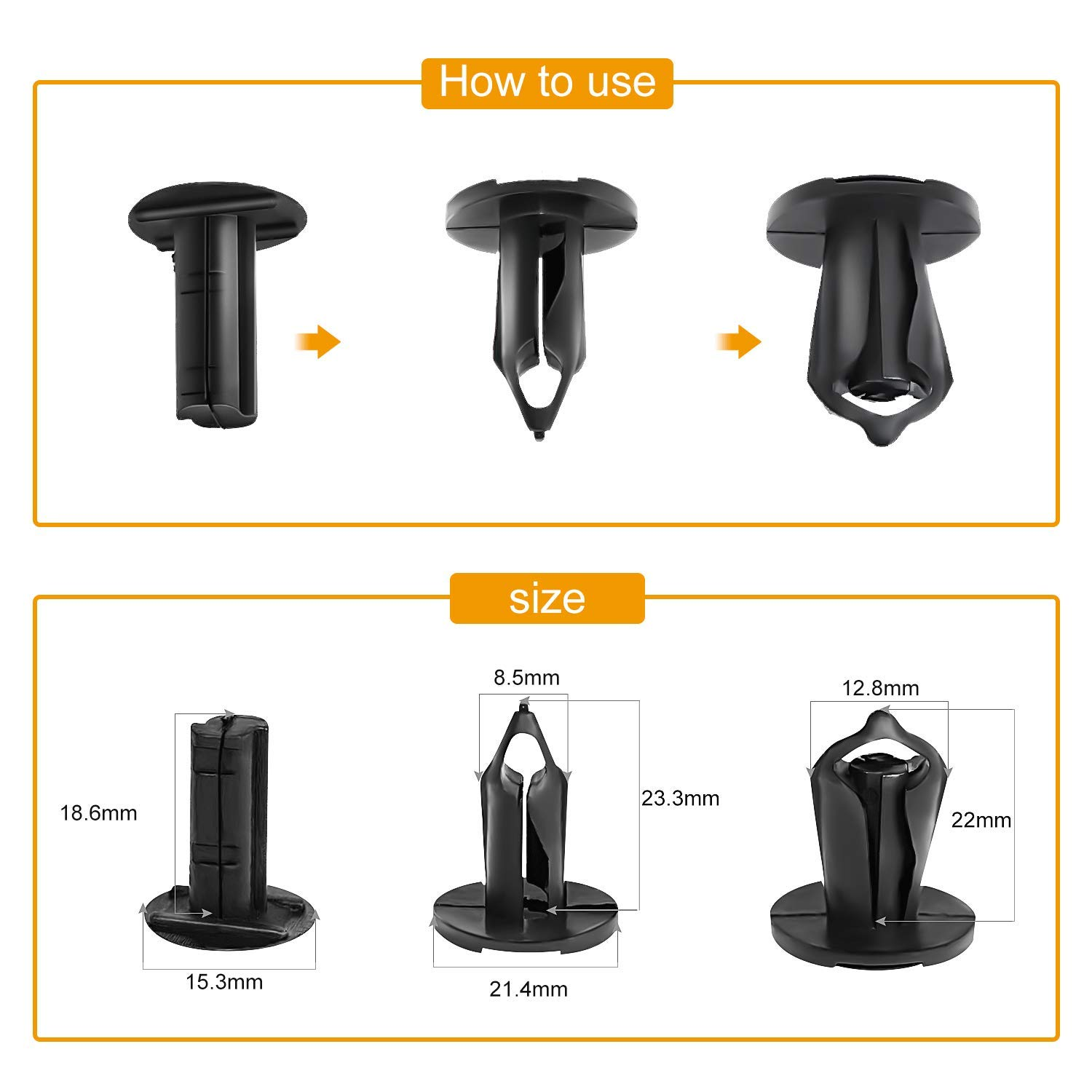 Gooacc Nylon Bumper Fastener Rivet Clips Gm 21030249 1993 Fuel Filter Housing Ford N807389s Automotive Furniture Assembly Expansion Screws Kit Auto Body 8mm