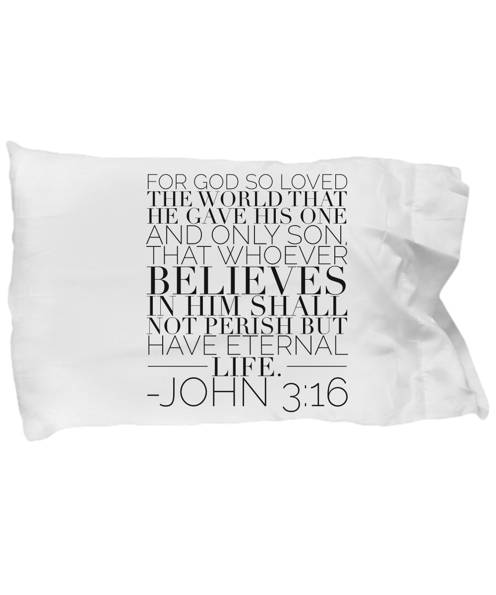 Creative Commodities Bible Verse Pillow – John 3 16 Pillow Case:For God So Loved The World That He Gave His One And Only Son.; Christian Pillow Case; Inspirational Gift