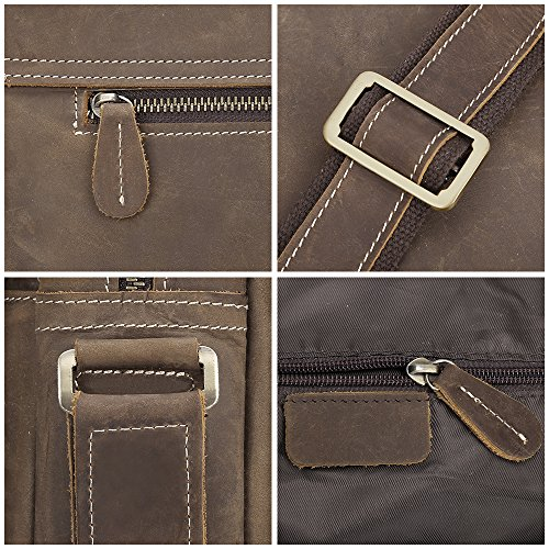 S-ZONE para hombre bolsas Crazy Horse Messenger de piel Vintage hombro portátil maletín