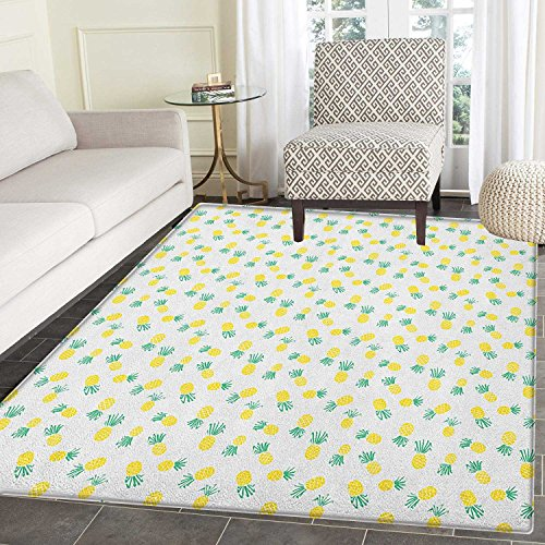 Hawaii Non Slip Rugs Doodle Style Pineapple Hand Drawn Exotic Fruits Pattern Stripes and Dots Door Mats for inside Non Slip Backing 3'x4' Yellow and Sea Green by smallbeefly