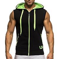 Bold Manner Herren Ärmelloses Shirt Sport Tops Hoodie Kapuzensweatshirt mit Reißverschluss Mantel …