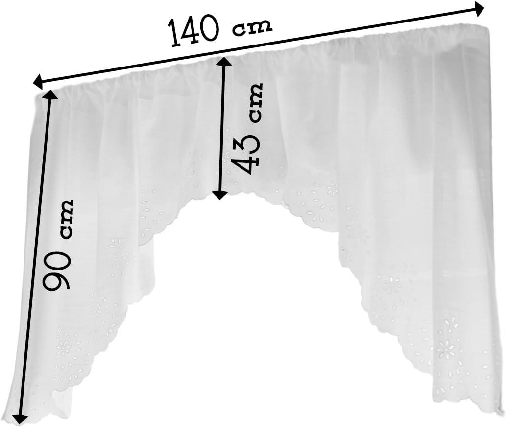 140x90 Dentelle Sangallo Blanc Cantonni/ère Brod/é Shabby Chic et Romantique 100/% Polyester