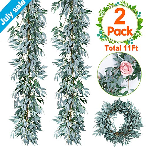 2 PCS Artificial Greenery Garland Total 12Ft Willow Leaf Garland Faux Silk Jungle Willow Leaves Artificial Ivy Garland Willow Wreath Greenery for Wedding Arch Jungle Party Wall Decor July Deals