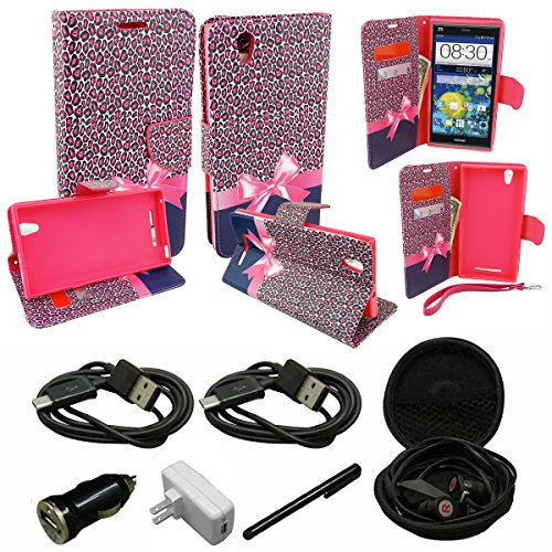 Mstechcorp - For ZTE Grand X Max Z787 / Max+ Z798 (Cricket) - Wallet Flip Case Pouch Cover Fold Stand Case Premium Leather Wallet Flip Case Pu Leather with Card Slots -Includes [Car Charger With 2 Data Cable] + [Hands Free Earphone With Carrying Case] + [Touch Screen Stylus] (WALLET PINK RIBBON) (Zucca Long Wallet)