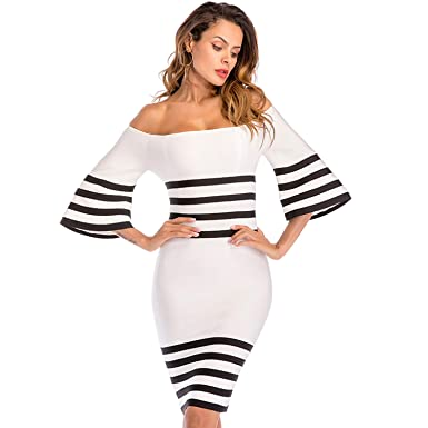 eb892bd0b496 Image Unavailable. Image not available for. Color  ADYABY Women Knee Length Dress  Off Shoulder Bodycon ...