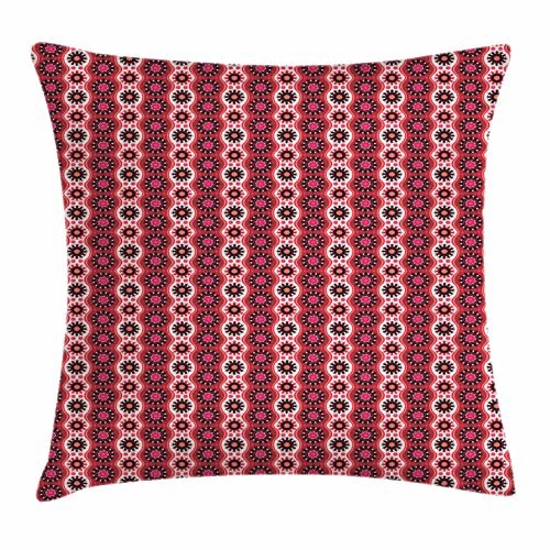 Ambesonne Oriental Throw Pillow Cushion Cover, Asian Culture Inspirations with Timeless Motifs Traditional Arrangement, Decorative Square Accent Pillow Case, 28 X 28 Inches, Ruby Black Vermilion (Timeless Sofa Traditional)