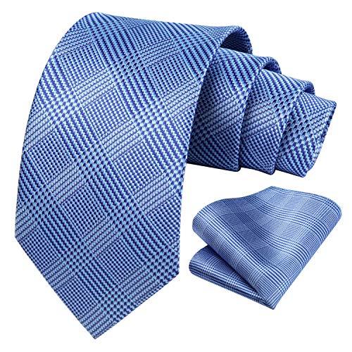 HISDERN Houndstooth Tie for Men Handkerchief Woven Classic Men's Necktie & Pocket Square Set