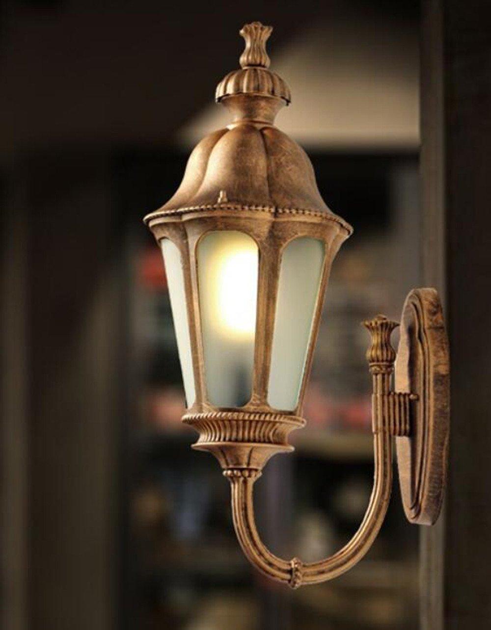 Europäische Outdoor-Wandleuchte wasserdicht Anti-Rost LED Wohnzimmer Schlafzimmer Garten Flur Lampe, Bronze