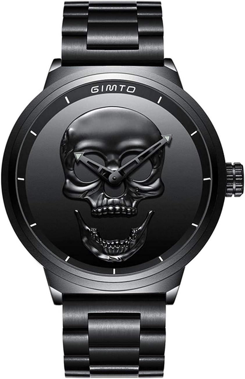Reloj de Pulsera de Cuarzo para Hombre, de Acero Inoxidable, diseño de Calavera 3D, Color Negro
