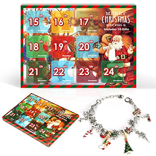 Christmas Advent Calendar Pandora DIY Charm Bracelet Fashion Jewelry Beads Hand Chain Advent Calendars for Kids Christmas Toy Gift