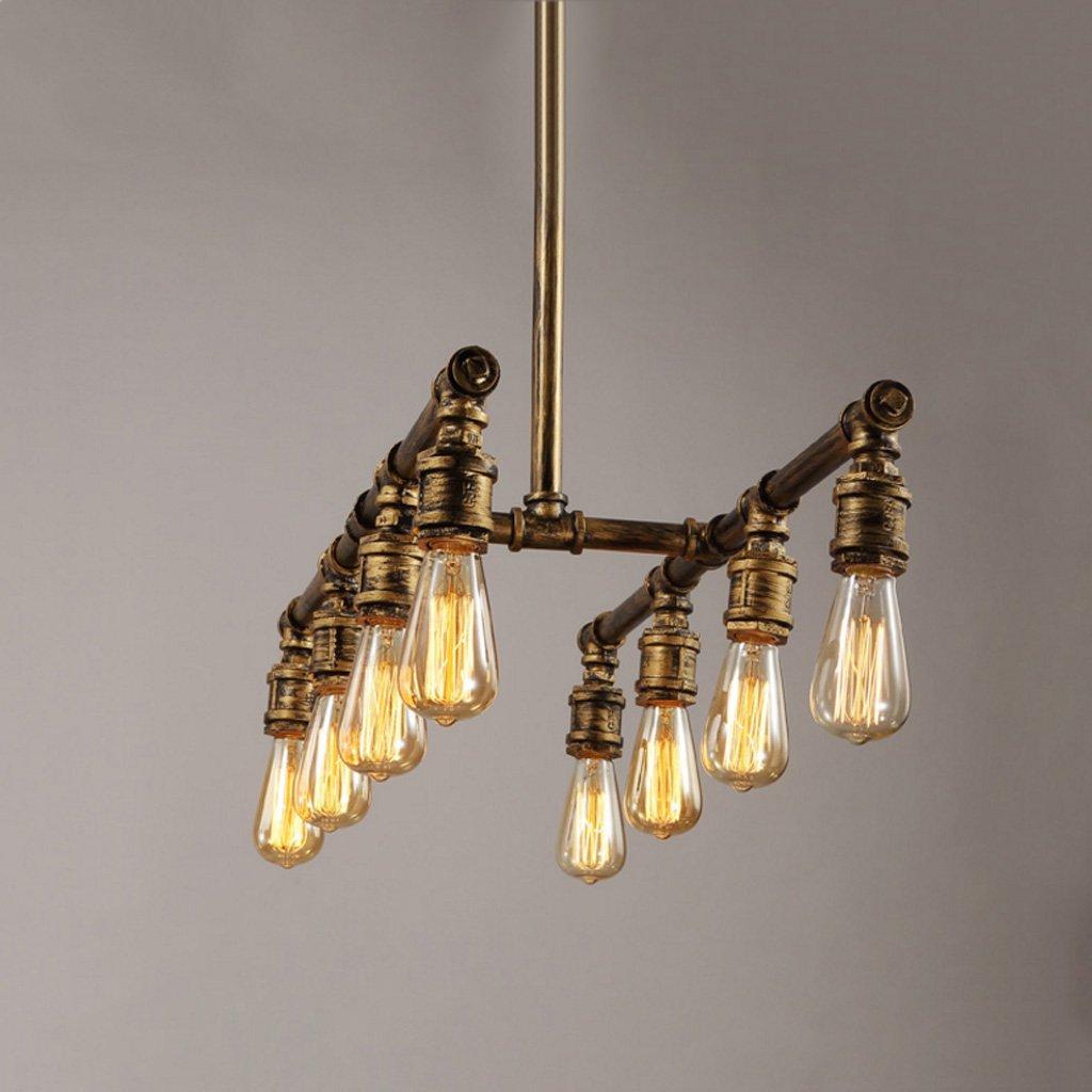 Cgjdzmd Ceiling Pendant Lights 8 Head Vintage Industrial Copper Pipe Fixture Water Pipe Ceiling Lamp Retro Pendant Light Home Deco Chandelier E27 Light Source AC 110 - 240V