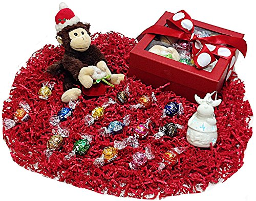 Christmas Ribboned Gift Box - Lindt Lindor Gourmet Chocolate Truffles, Plush Holiday Monkey & Light Up Tree Ornament