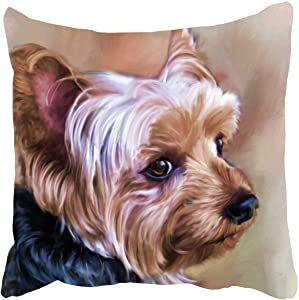 DZGlobal Personalized Yorkie Dog Throw Pillow Cases Yorkie Pillow Cover Dog Pillow Case 18x18 Soft Cotton Yorkshire Terrier Cushion Covers Decorative Pillowcase for Couch Sofa Bedroom Car