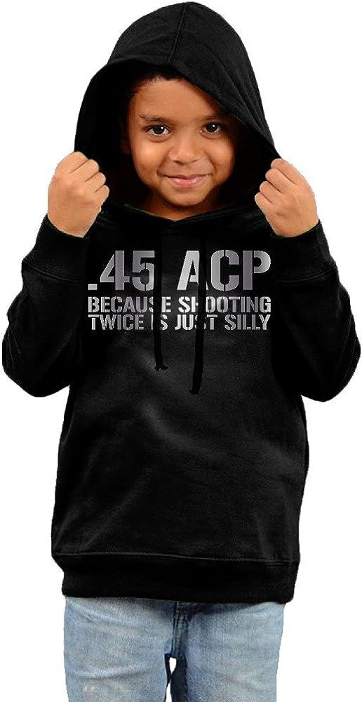 Little Boys Girls 45 ACP Because Shooting Platinum Style Hoodie Black